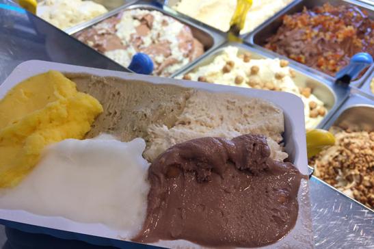 Gelato alla frutta, sorbetti, crema, al latte, variegati